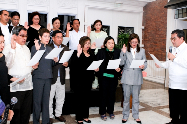 The new board of directors of the Tourism Congress of the Philippines in an induction ceremony officiated by Philippine Tourism Secretary Ramon Jimenez, Jr. held December 16, 2013 at Enderun Colleges.