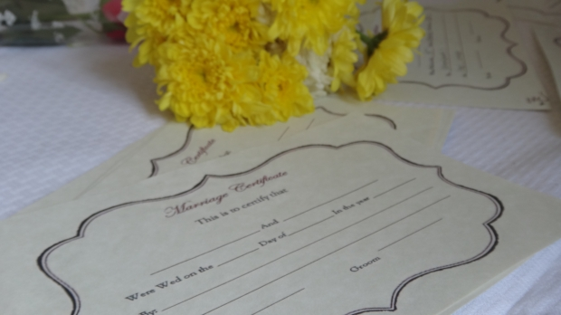 Students signed these at the end of the wedding ceremony