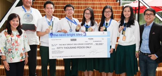 This year's next Bright Idea Year 3 grand winner is St. Jude Catholic School. From left: Enderun Colleges' Vice President for Admissions and External Relations Tricia Tensuan, SJCS Facilitator Camilo Gelido, Jr., SJCS students Francis Choa, Jr., Adrian Sy, Nicole Chiang, Diane Ong, Christine Tan, Enderun Colleges' Director for Admissions and Extension Daniel Perez
