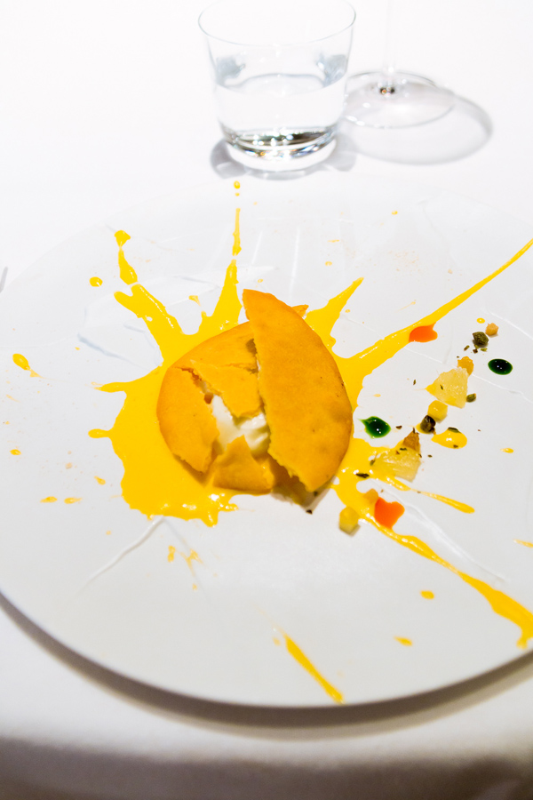 "Chef Massimo Bottura's puts a modern twist in Italian cuisines through art-inspired dishes. ""Oops! I dropped the lemon tart."" (photo from willtravelforfood.com)"