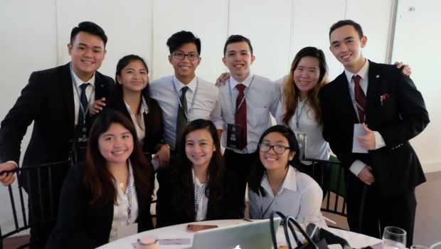 Top row: John Dysanco, Freshmen Batch Rep Kolin Guallar, Junior Batch Rep Harvey Luntok, Secretary Jack Monk, Internal Vice President Cath Ngan, Freshmen Batch Rep Joey Tuason, President Bottom row: Bea Cruz, Sophomore batch rep Fae Almirañez, External Vice President Samantha Mutuc, Sophomore batch rep Other members not in the picture: Kristian Cayabyab, Senior Batch rep Hannah Polo, Senior batch rep Kevin Abuedo, Treasurer Winter Sonata, Junior batch rep