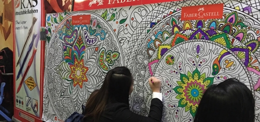 Coloring time at Faber-Castell's wall art section!