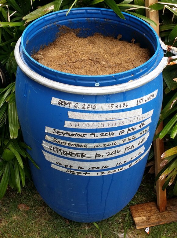 Daily food waste from the cafeteria is converted into compost