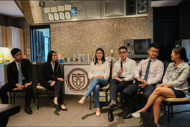 (L-R) Ryan Muliloda and Celine Allarey (BS Entrepreneurship students), Lauren Silverio, Francis Dolojan, Matthew Lim and Kristine Lotilla