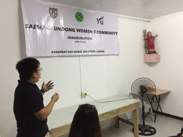 Luke De Leon presents about Saemaul Undong during the community inauguration