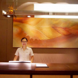 At the front desk of Hyatt Regency in Guam