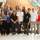 Enderun Colleges President Edgardo Rodriguez (leftmost) and Enderun Colleges Department Head of General Education Carlos Arnaldo (rightmost), Dr. Fritz Hack and Mr. Lucien Spittael (middle) together with the descendants of Jose Rizal from the family of his sisters, Saturnina and Maria.