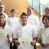 Enderun Colleges Culinary Arts students who joined the Young Talents Escoffier competition together with their Ducasse Education Chef instructors