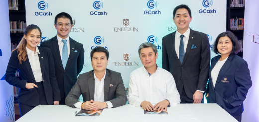 (Seated L-R) Enderun Colleges Senior Vice President and Co-Founder Daniel Perez and Vice President and Group Head for Enterprise Luigi Reyes (Standing L-R) Enderun Colleges students Eleni Chelsea Abcede, Antonio Jalbuena, Kennard Chong and Enderun Colleges Section Head for Humanities, Social Sciences and PE Marissa Felix