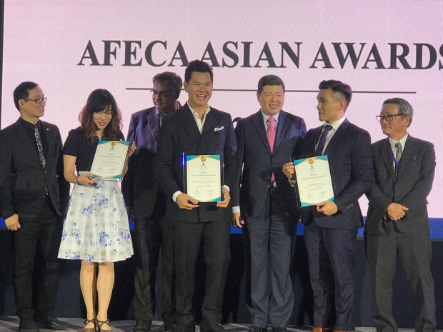 Enderun Alumnus Rey Moraga receives Asia's Young Professional Award of the Year during the AFECA Awards 2019
