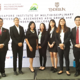 Enderun Colleges student participants together with Enderun Colleges faculty and Philippine MICE Academy Certification Director Cynthia Bernabe (third from left) during the 2nd Multidisciplinary Research Festival